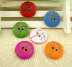 Botones infantiles - Pretty 6 Pcs botones de madera - hecho a mano por One-Stop en DaWanda