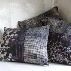 Jo Lovelock cushions and quilts 2 Textiles, Sofa Pillows, Throw Pillows, Home Interior Accessories, Diy Bathroom Decor, Bathroom Designs, Plaid, Printed Cushions, Pillow Forms