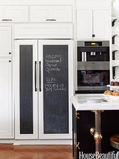 chalkboard fridge door Can not get over how much I love this Chalkboard Fridge, Chalkboard Paint, Chalkboard Ideas, Chalk Paint, Chalkboard Drawings, Chalkboard Lettering, Refrigerator Panels, Refrigerator Makeover, Paint Refrigerator