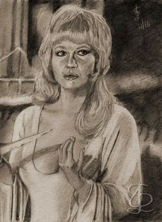 Stephanie Beacham in 'Dracula AD 1972'. Freehand sketch using HB pencil and eraser. Darkened, tinted etc. digitally.
