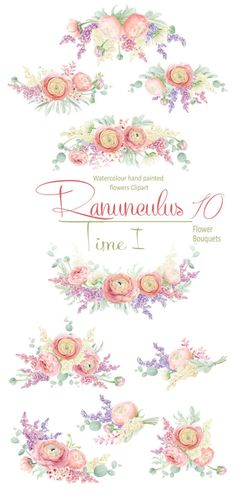 High quality Hand painted Clipart collection - Watercolour Ranunculus bouquets, Finished floral arrangements for Wedding invitation. Perfect graphic for wedding invitations, greeting cards, photos, posters, Scrapbooking, wall art, quotes and more. All images are 300dpi, coloured