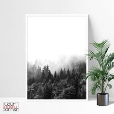 Forest photography Mountain Forest Wall Art Pine tree | Etsy Foggy Forest, Misty Forest, Pine Trees Forest, New York City Map, Sharp Prints, Forest Photography, Modern Wall Art, Map Art, Printable Wall Art