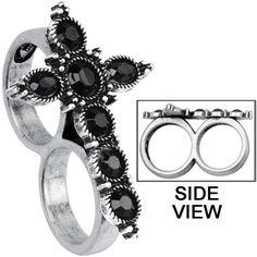 Black Gothic Cross Double Finger Ring