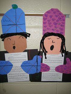 Art Class Works: 1st Grade Carolers - cute bulletin board