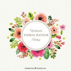 Marco lindo de flores en el estilo vintage Vector Gratis