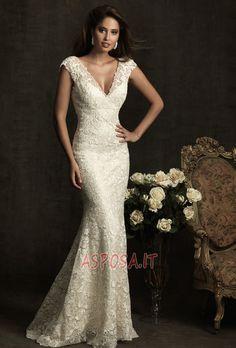 569f7b9f99ed Abito da Sposa Tubino Cerniera Romantici Primavera Maniche Corte - Pagina 1  Wedding Gowns With Sleeves