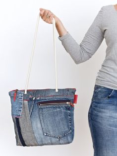 blue denim patchwork shoulder bag - repurposed - red accents jeans purse - carryall bag - everyday bag - zipper closure bag