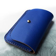 Handmade Leather Phone case in Blue / Wallet / Hand bag door wolike, $39.00