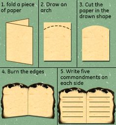 Creating the Ten Commandments paper tablets as a craft activity