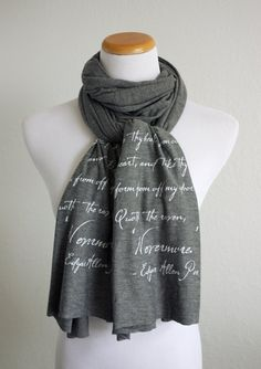The Raven Nevermore Literary Scarf- Edgar Allen Poe Quote - Knit Jersey Raw Edged