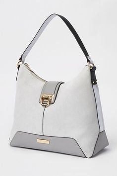 dc8e28ec99 Buy River Island Mid Grey Lock Front Slouch Bag from the Next UK online shop