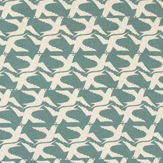 CloudBird Blue Sky – The Swedish Fabric Company #bluefabric #birdfabric #fabric #textiles #birds #scandinaviandesign