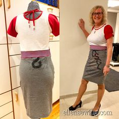 """My Lovely """"singing"""" Friend, Torhild from our choir; Skakkekoret ♪♫ I love Desigual garments, and of course I have bought several T-shi. How To Make Skirt, Boys T Shirts, Refashion, White Tops, Passion, Sewing, Fabric, Skirts, Sleeves"""