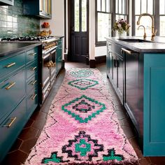 Runners Custom Length Carpet Runners Custom Length Carpet Runners Custom Length We Can't Get Enough of This Turquoise and Pink Kitchen Eclectic Kitchen, Boho Kitchen, Eclectic Decor, Moroccan Kitchen, Funky Kitchen, Eclectic Design, Kitchen Rug, Kitchen Ideas, Home Interior