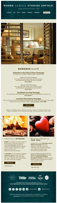 Alluring and romantic Valentine's Day email, without hearts! (From Rancho Bernardo Inn, near San Diego) See more great Valentine's Day emails here: http://emaildesign.beefree.io/2016/02/inspiration-for-valentines-day-emails/