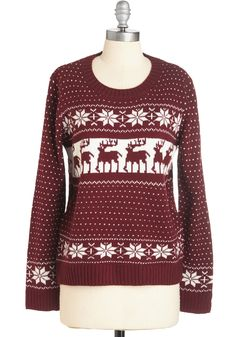 Here We Come A-Wandering Sweater. Frolic through the snow in festive style while sporting this reindeer-printed sweater! #red #modcloth