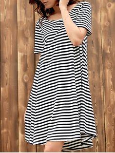 Sweet Style Scoop Neck Short Sleeve Black and White Stripe Dress For Women