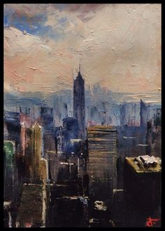 """N.Y. State of Mind"". Oil on canvas, 5"" x 7"". By Dario Falzon."