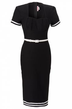 Pinup Couture - Military Pinup Dress in Black with White Trim