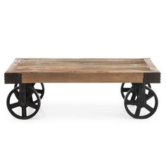 Like a vintage industrial warehouse find that you don't have to clean up, the Zuo Modern Barbary Coast Cart Table - Distressed Natural is perfect. Cart Coffee Table, Unique Coffee Table, Modern Coffee Tables, Wine Bar Furniture, Funky Furniture, Repurposed Furniture, Vintage Table, Vintage Wood, Wood Cart