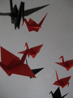 Large Origami Crane Mobile (Red and Black) by makikomo on Etsy, $40.00
