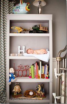 Love The Idea Of A Newborn Shoot Using Baby S Nursery How Cute Is He On His Own Bookshelf