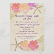 Tropical Flowers and Starfish Couple's Shower Invitation Couples Wedding Shower Invitations, Custom Invitations, Colored Envelopes, White Envelopes, Blue Bridal, Couple Shower, Beautiful Textures, Tropical Flowers, Envelope Liners