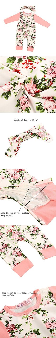 Fedpop Newborn Baby Girls Clothes Long Sleeve Bodysuit Floral Printed Jumpsuit Romper Coverall Outfits With Headband