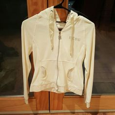 BCBG Zip-up hooded sweater, with rhinestones Very soft, lightly worn, small black dot on hood (see picture) BCBG Sweaters