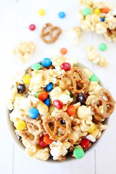 Sweet and Salty Marshmallow Popcorn Recipe on twopeasandtheirpod.com This fun popcorn treat is easy to make and is always a hit! Kids and adults love this recipe!