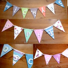 Wooden personalised bunting / name bunting / letters / girl / boy / baby nursery / kids room, also available with little owl theme! Visit www.facebook.com/cosycottagesomerset to buy. £2.20 per flag / £3.20 for any flags with handpainted owls