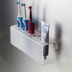 Beau Wall Mounted Frosted Electric Toothbrush Holder U0026 Toothpaste Holder