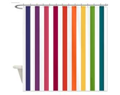 Happy Stripes Shower Curtain  A Rainbow of Fun by HappywoodGoods, $68.00