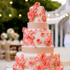 Modern Coral and Beige Floral Wedding Cake // Kakes By Karen // photo by: Set Free Photography // http://www.theknot.com/weddings/album/an-elegant-vintage-wedding-in-captiva-fl-144169