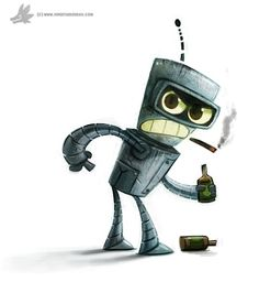 Badass little #Bender by Piper Thibodeau (Cryptid-Creations) | #Futurama  Source: http://cryptid-creations.deviantart.com/art/Day-811-Bender-512975825