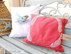 DIY Bird Appliqué Pillow and embroidered feather pillow