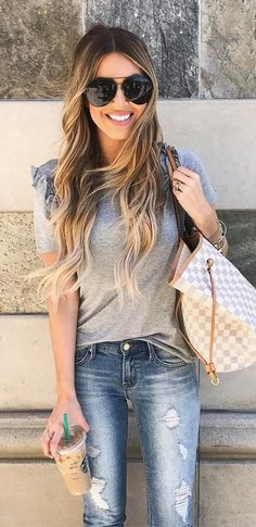#summer #outfits Grey Tee + Ripped Skinny Jeans + Gingham Tote Bag