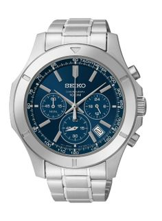 Seiko Chronograph Blue Dial Stainless Steel Mens Watch SSB103: Watches: seiko watches for men