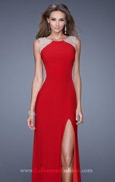 Beaded Slit Jersey Gown by La Femme 20842