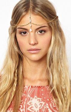 beach hair and headpiece
