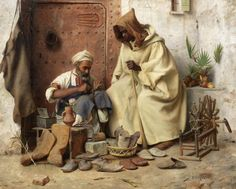 Jean Discart (French, 1856-1944) - The cobbler, Tangiers, oil on panel, 40 x 50 cm.