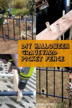 I love this DIY Halloween cemetery picket fence. It's cheap and easy to make, and it looks spooky around my Halloween graveyard. Great outdoor Halloween decor! #entertainingdiva #halloweencemetery #yardhaunt #diyhalloween #halloween #holidaysandevents