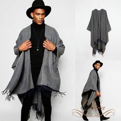 ASOS Jersey Cape poncho mens unisex outerwear grey