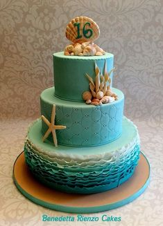 Under The Sea Sweet 16 Cake Under the Sea Sweet 16 theme. Teal ombre ruffles, shells and pencil starfish. Under The Sea Sweet 16 Cake Under the Sea Sweet 16 theme. Teal ombre ruffles, shells and pencil starfish. Ocean Cakes, Beach Cakes, Pretty Cakes, Cute Cakes, Beach Sweet 16, Sweet 15, Sirenita Cake, Sweet 16 Birthday Cake, 16th Birthday