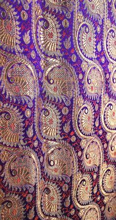 Antique Lavish Gilt Silver and Gold on Violet Benares Brocade Indian Sari