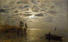 Kustlandskap i månsken / Coastal Landscape in Moonlight, Louis Douzette. Germany (1834 - 1924)