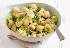 Pasta salad with peas, tuna and sweetcorn