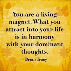 "You are a living magnet. What you attract into your life is in harmony with your dominant thoughts. ~ Brian Tracy ""Law of Attraction"" Great Quotes, Quotes To Live By, Inspirational Quotes, Motivational Quotes, Time Quotes, Change Quotes, Quotes Quotes, The Words, Positive Thoughts"