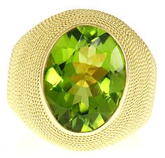 Custom Italian Bezel Set Peridot Gemstone Ring in 18kt Yellow Gold - Intricately Gold Crafted Band