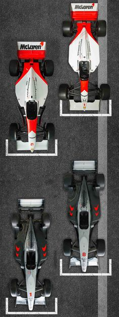 50 Years of F1, the cars. 1992-1999. MP4/7, MP4/8, MP4-13 and the MP4-14.
